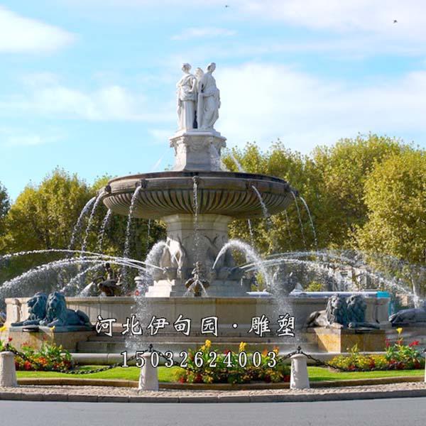 欧式水景喷泉手绘效果图