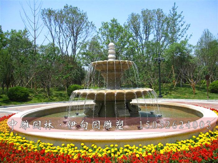 景观雕塑跌水喷泉 石雕双层喷泉 大理石喷泉雕塑 中式石雕花钵 曲阳