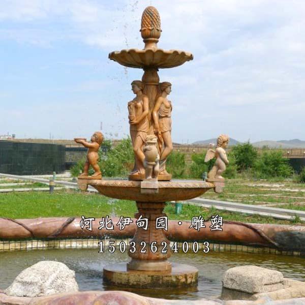 河北石雕喷泉 欧式人物喷泉 晚霞红喷泉 石材喷泉 喷泉雕塑材质 石雕