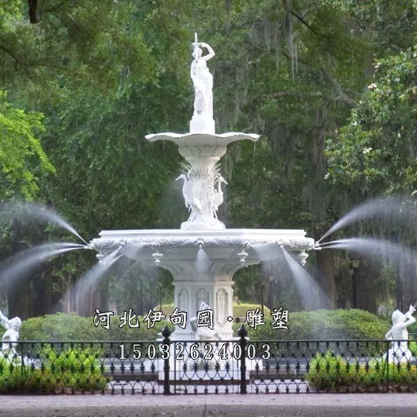 园林景观雕塑喷泉 汉白玉跌水喷泉 石雕景观喷泉 欧式喷泉雕塑 石头喷
