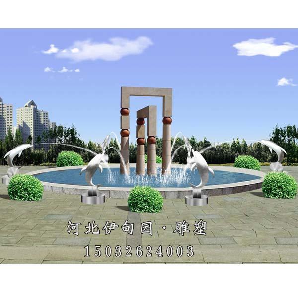 石雕欧式喷泉 动物喷泉 海豚吐水喷泉 园林景观雕塑喷泉 户外水景喷泉
