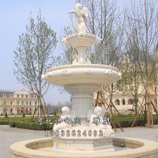 房地产喷泉雕塑设计 小区景观喷泉图片 汉白玉石料喷泉 欧式石雕喷泉