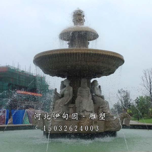 别墅小区喷泉雕塑 石雕欧式喷泉 城市景观喷泉雕塑 人物石雕喷泉 石雕