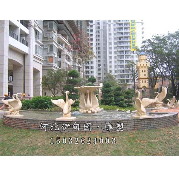 石雕天鹅喷泉 吐水天鹅 石雕动物喷泉 石雕喷泉小品 园林景观欧式喷泉