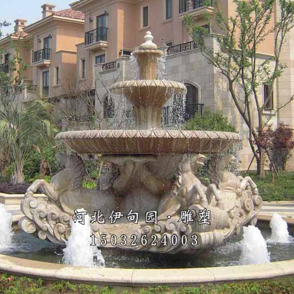 户外景观雕塑喷泉 室外雕塑水景喷泉 欧式跌水喷泉 双层跌水钵 黄锈石