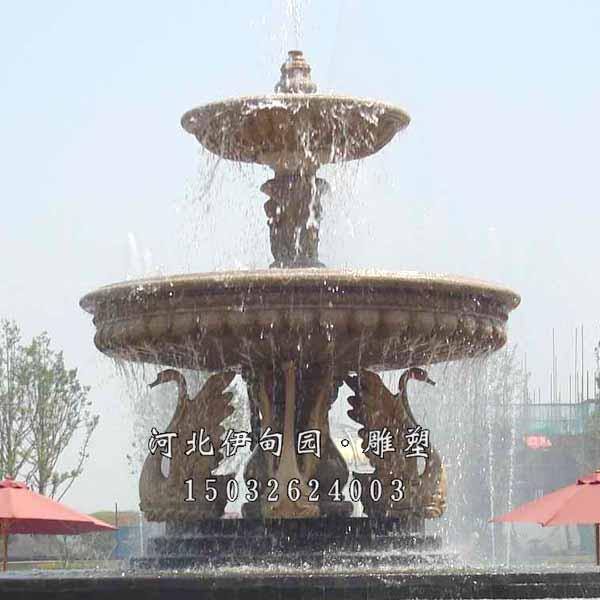 双层跌水喷泉 公园景观石材喷泉 欧式跌水喷泉 景观水钵 曲阳石雕喷泉