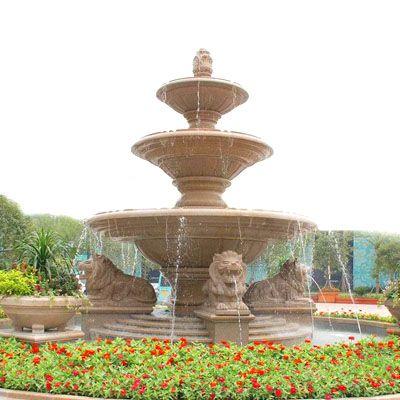 欧式喷泉-狮子喷泉雕塑-008